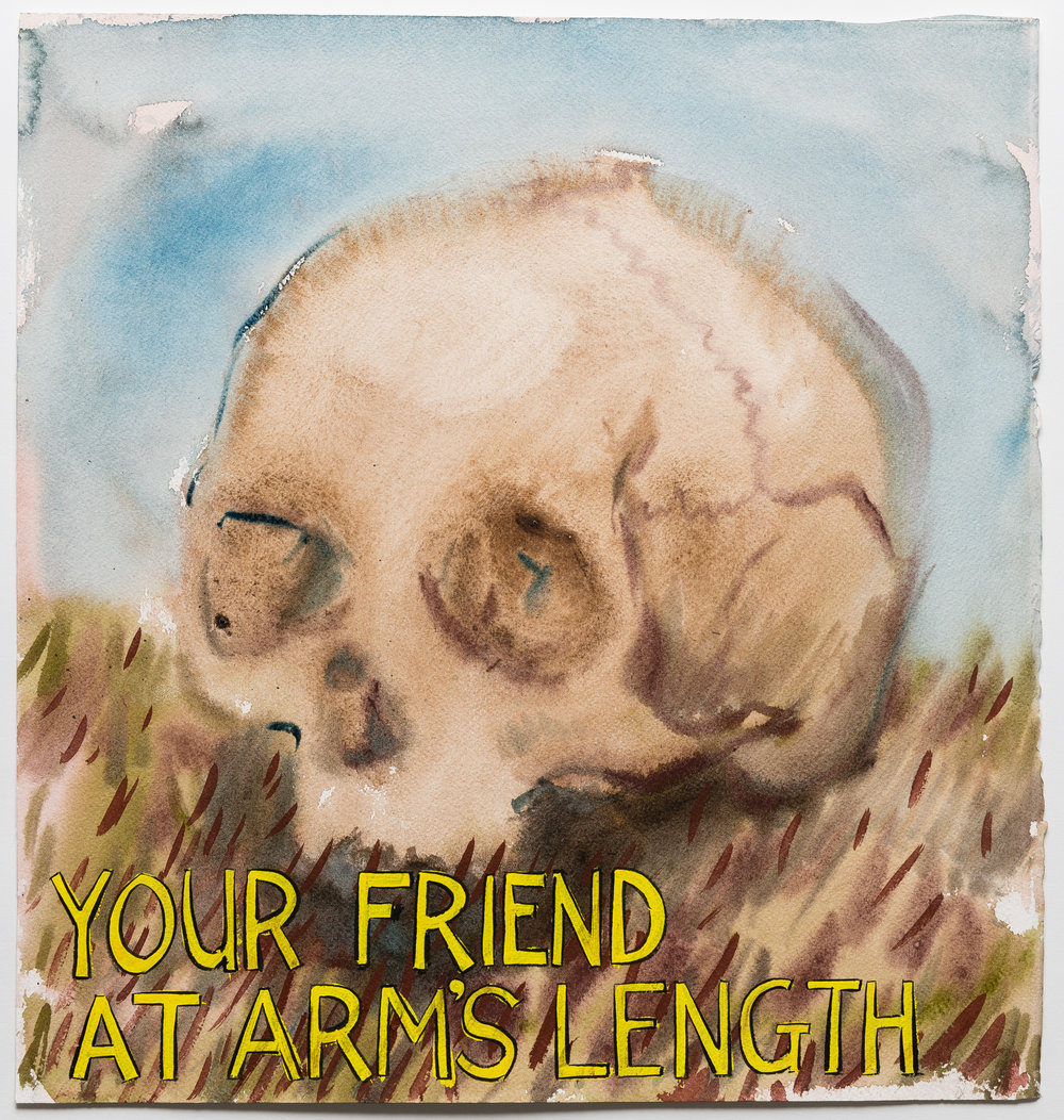 Your Friend At Arm's Length  2015 watercolor, gouache and ink on paper 16 x 15""