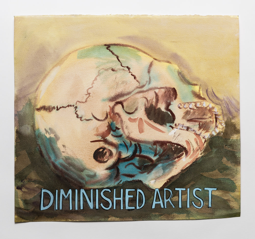 Diminished Artist  2015 watercolor, gouache and ink on paper, 15 x 16""