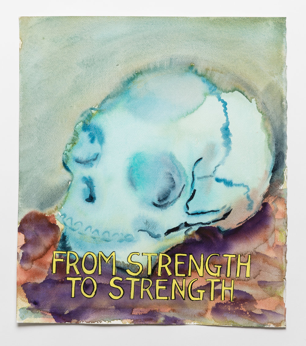 From Strength to Strength   watercolor, gouache and ink on paper  16 x 14""