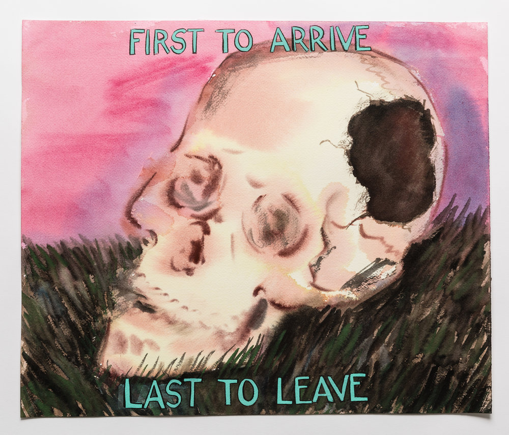 First to Arrive, Last to Leave  2015 Watercolor, gouache and ink on paper 17X14""