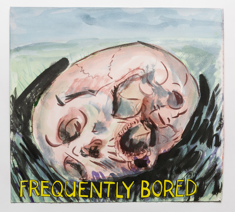 Frequently Bored   2015 watercolor, gouache and ink on paper 15x17""