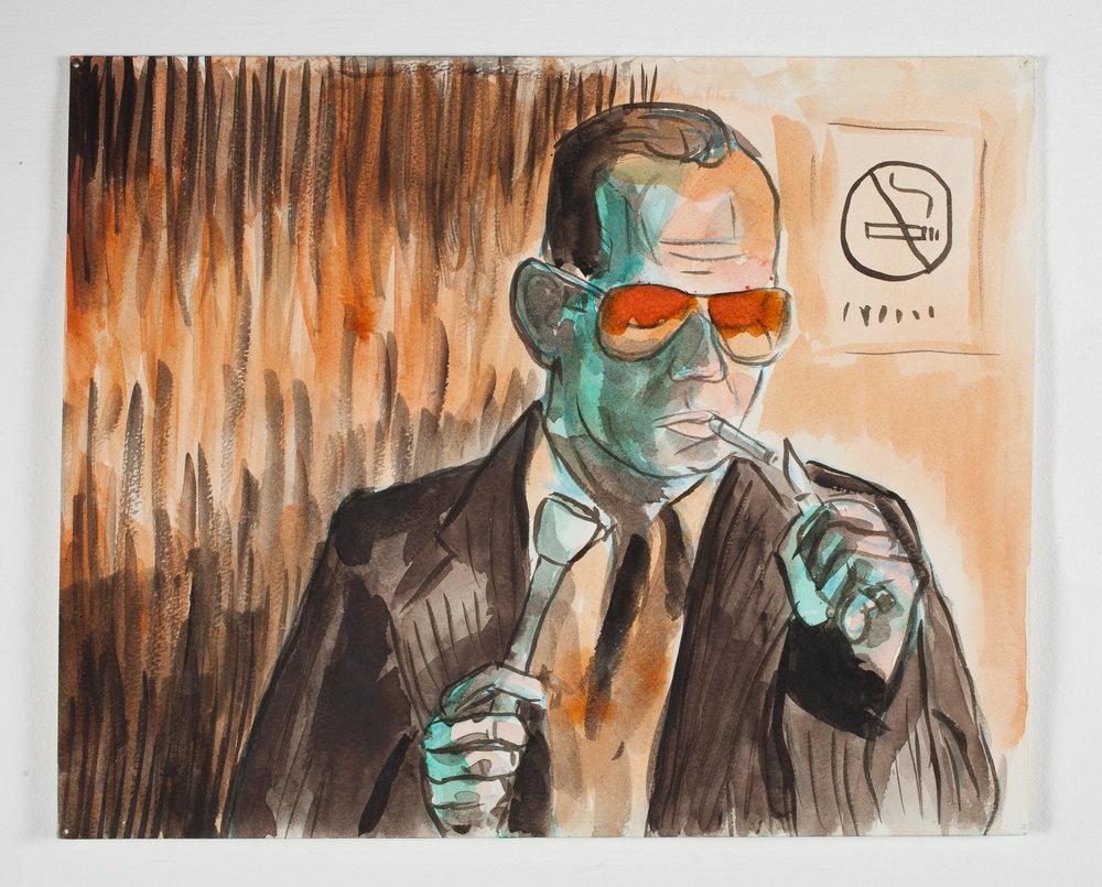 """No Smoking   1999 Watercolor + Ink 14 1/8""""x 11 1/2"""""""