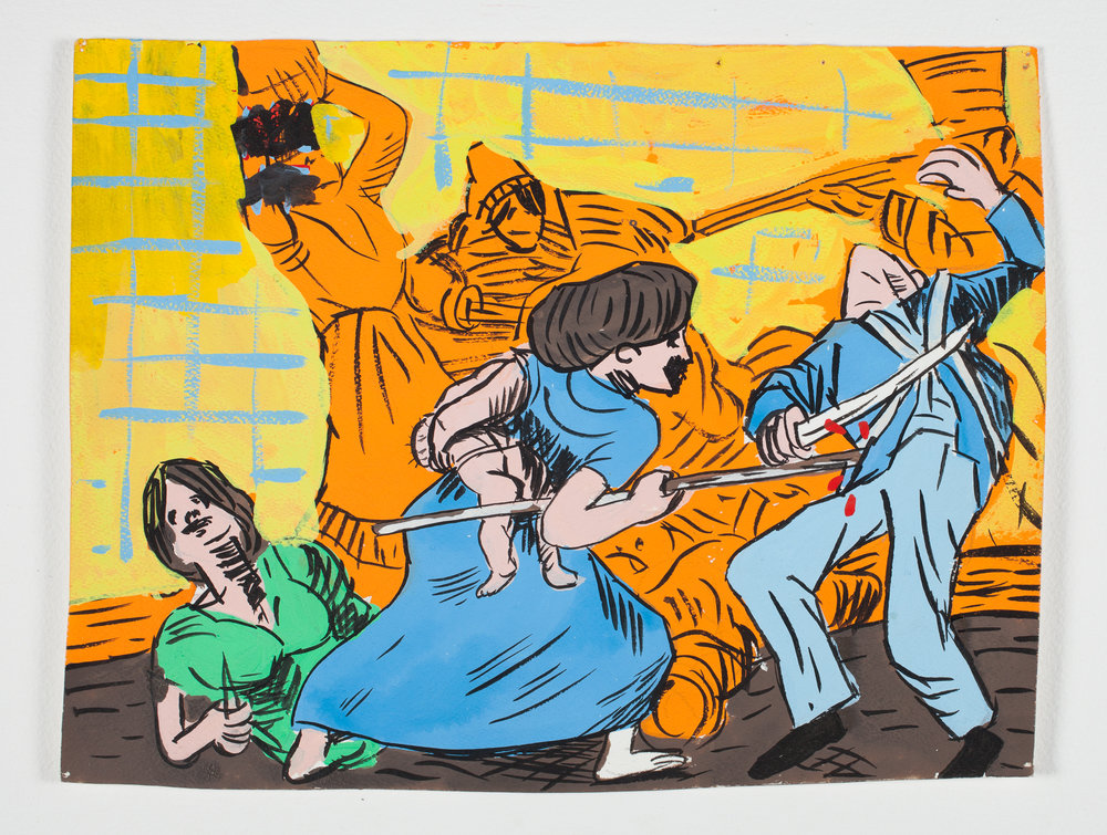 "Goya Gouache   1998 Gouache + Ink 12 1/4""x 9 1/2"""
