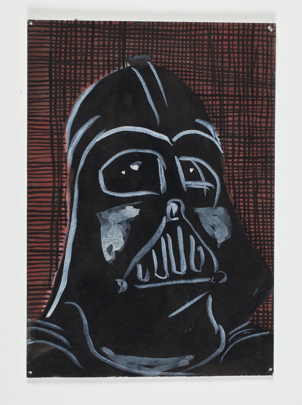 """Darth Vade  r   1998 Watercolor, Gouache + Ink 9 3/4""""x 6 3/4"""""""