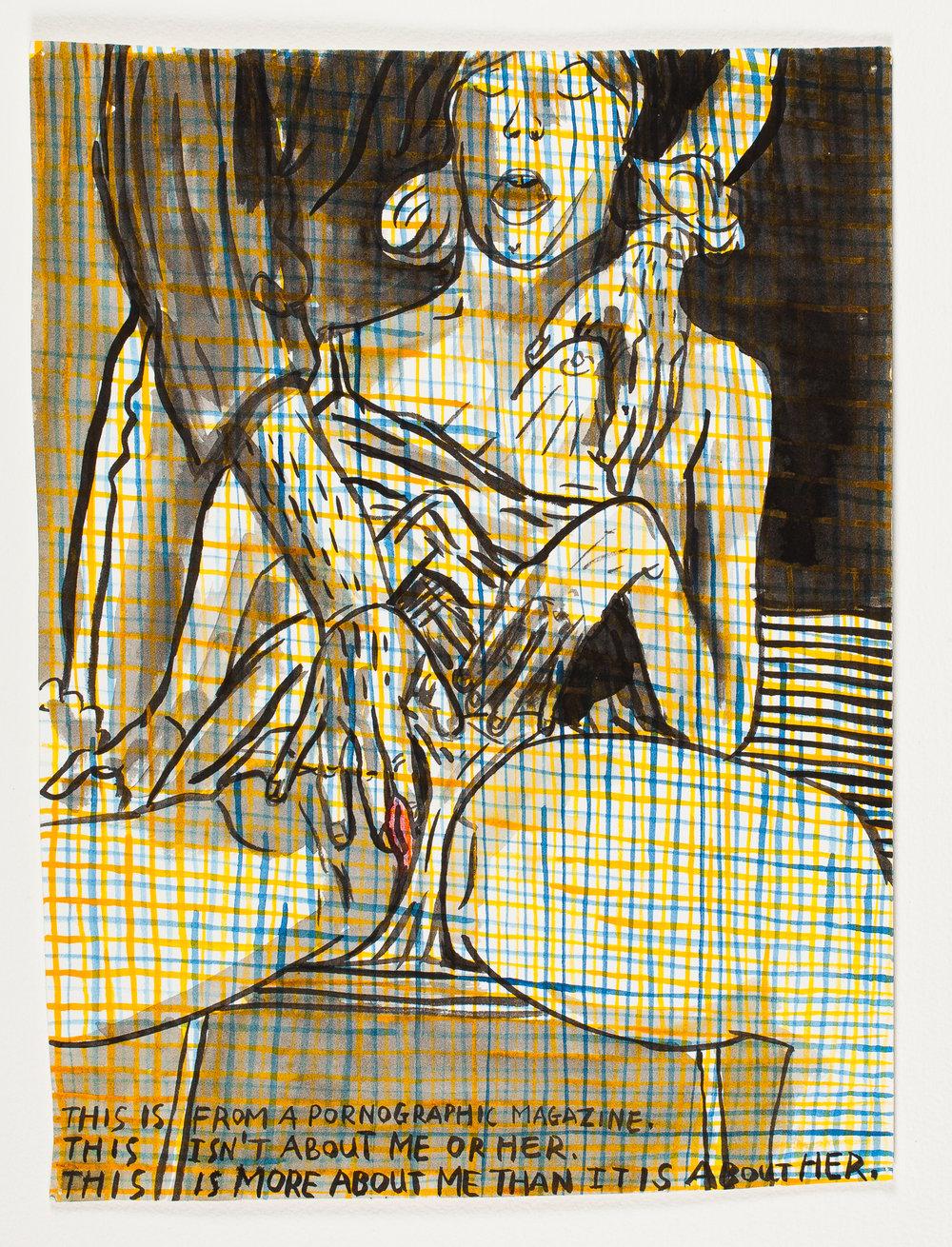 """Pornographic Magazin   e  1997 Watercolor + Ink 10 1/4""""x 14 1/4"""""""