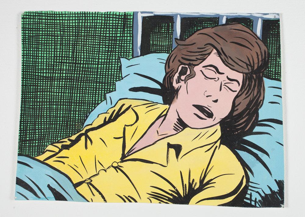 """Sleeping   1997 Gouache + Ink 131/2""""x 9 3/4"""""""