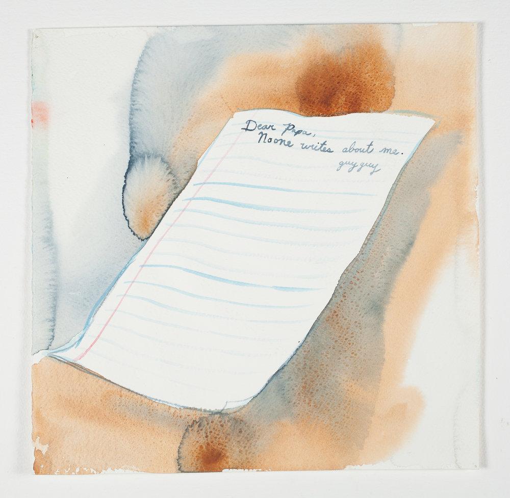 """Dear Papa   2000 Watercolor 121/2"""" x 12 1/4"""""""