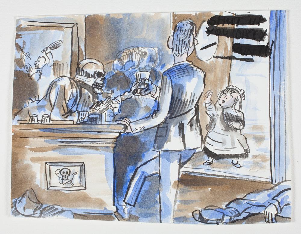"""Shut Up  1997 Watercolor + Ink 141/2""""x 11"""""""