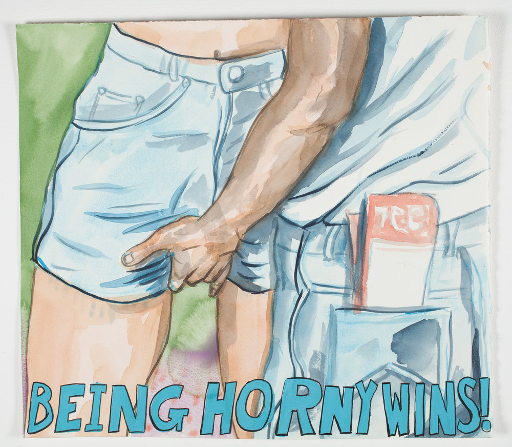 "Being Horny Wins  2001 Watercolor, Gouache + Ink 18 1/2"" x 16"""