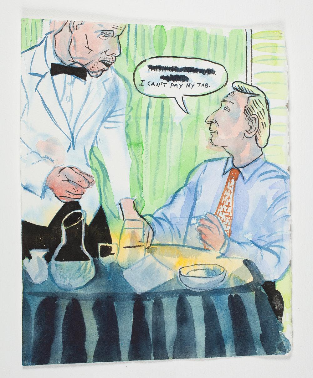 "Bar Tab   1999 Watercolor + Ink 11 1/4""x 14 1/4"""
