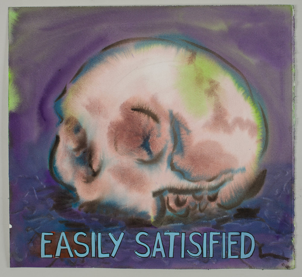 Easily Satisfied  2016 watercolor, gouache and ink on paper 15x16""