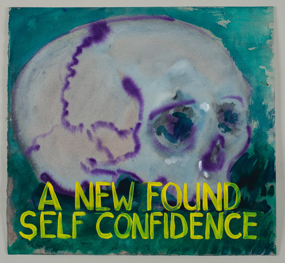 A New Found Self Confidence  2016 watercolor, gouache and ink on paper 15x16""