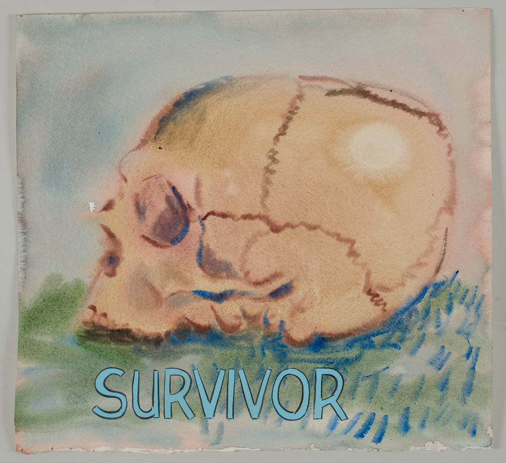 Survivor  2016 watercolor, gouache and ink on paper 15x16""