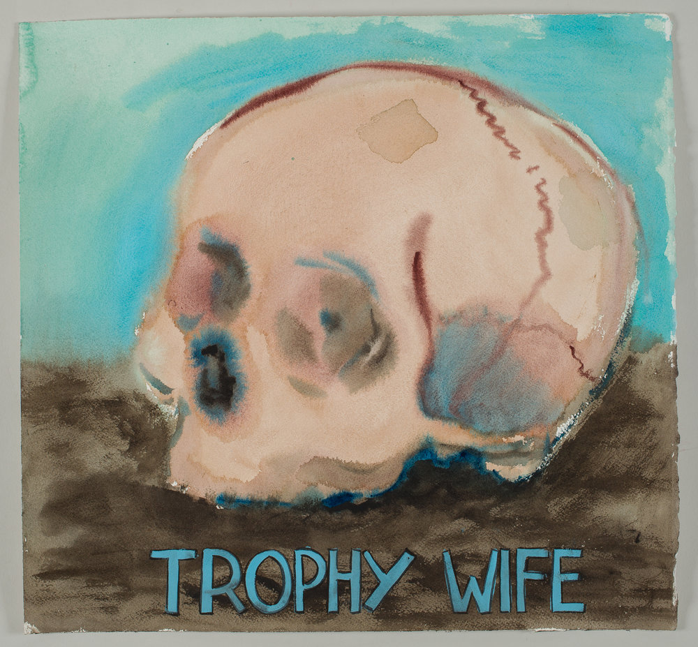 Trophy Wife  2016 watercolor, gouache and ink on paper 15x16""