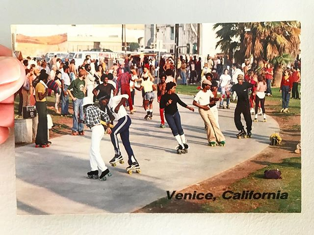 Wishing everyone a disco-dancing-on-roller-skates kinda day! ⚡️🌈☀️ Vintage #VeniceBeach postcard direct from my dresser drawer 💌