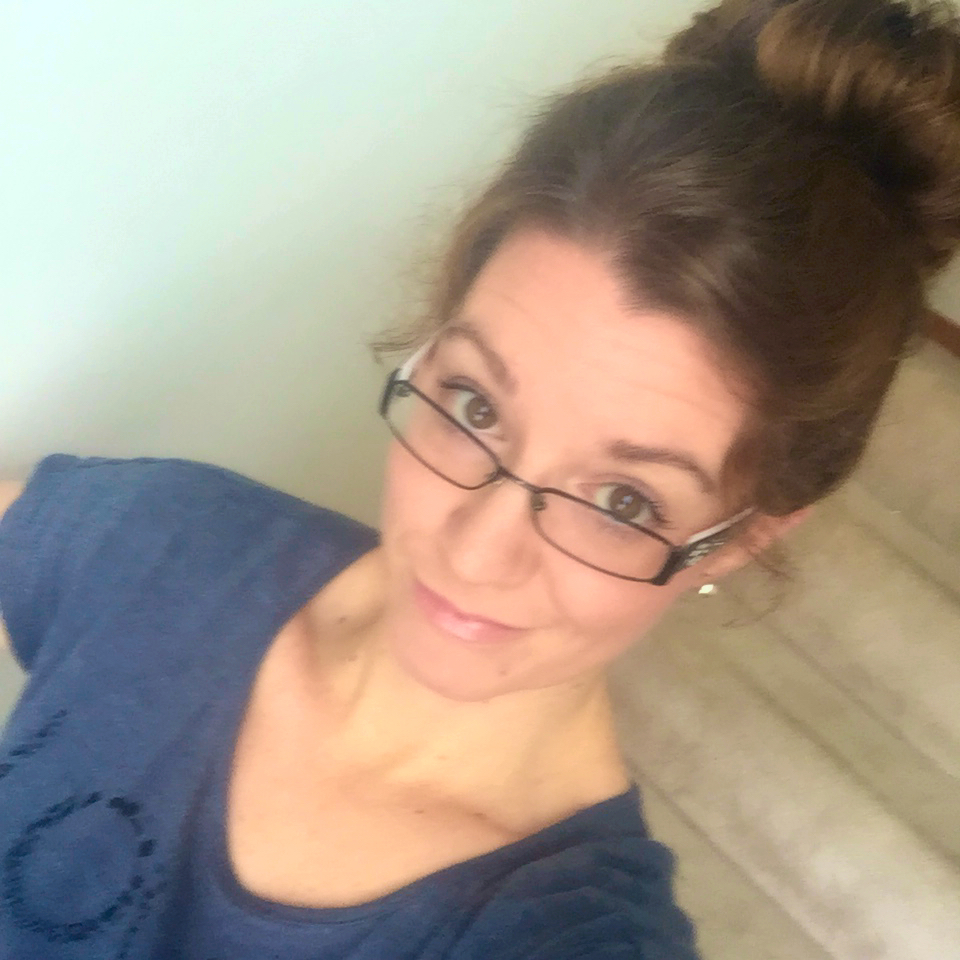 This is the real me, glasses, top knot and all!
