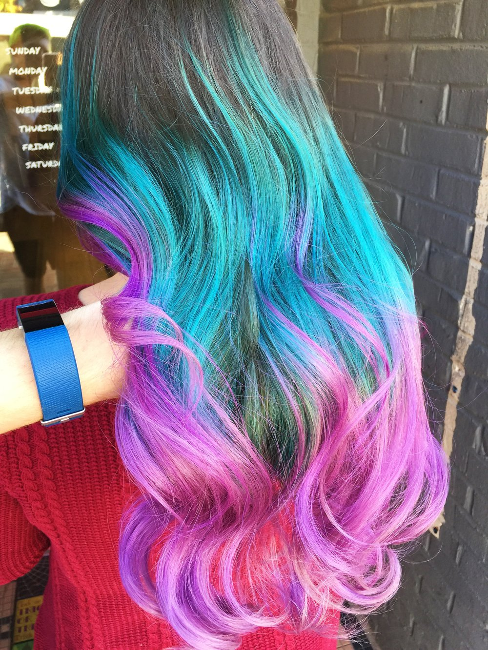 teal and pink mermaid hair