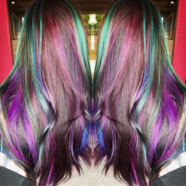 It's FRIDAY! Hope everyone has a colorful day💜💙💚 used all @ruskhaircare Blue, purple and teal👌 #jshermansalon #unicorntribe #atlhair #atlantahair #balayage #behindthechair #hairideas #ruskhaircare