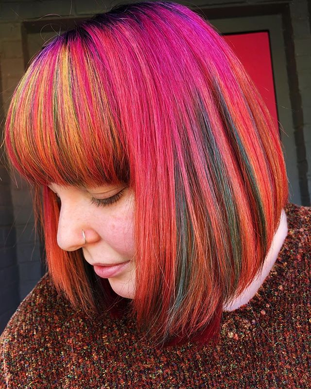 The leaves are almost gone, but this hair carries the essence of Fall 💕🍂 #jshermansalon #fallhair #atlhair #atlantahairstylist #atlantahair #unicorntribe