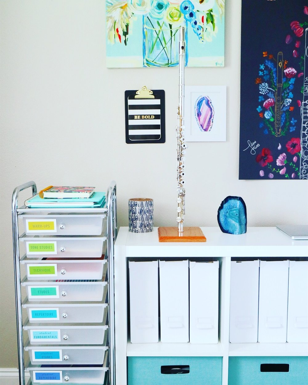 The 10-Drawer Cart from Michael's has been a game-changer for music piles! Finding the right system makes all the difference!