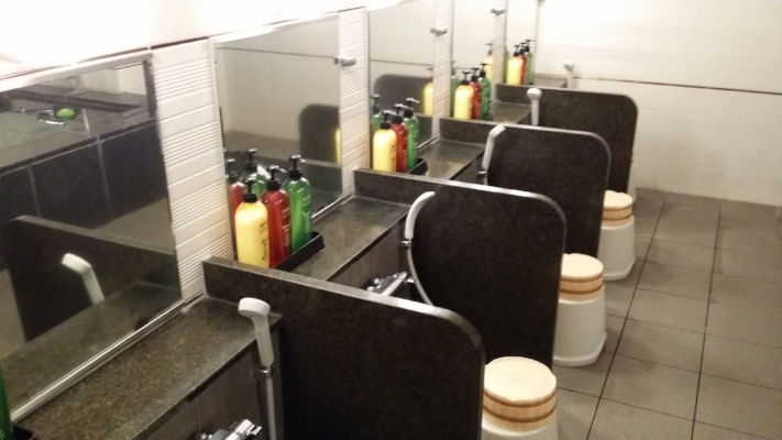 The washing stalls with stools, wooden buckets and all your bath soaps and products provided