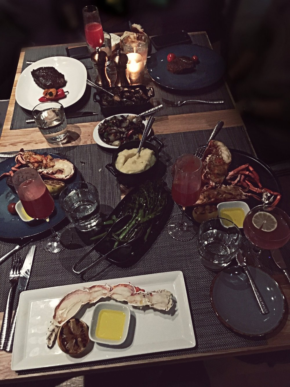 So f*cking good . . . - Our Dinner : ⤚ Salmon & Chu Toro Tuna Sashimi (not shown in photo)⤚ Bone in Striploin⤚ Filet Minion ⤚ Baked & stuffed Lobster⤚ King Crab⤚ Charred Broccolini ⤚ Roasted Mushrooms⤚ Mashed Potatoes ⤚ Port Royal & French Smash Cocktails (SO effing good)▽ FYI, I didn't eat any of the steak, as I don't eat meat (many of you already knew that). ♡ My family really enjoyed it though ☺