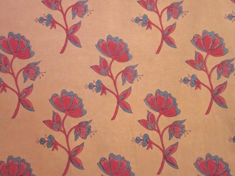 flower - apricot / hand blocked cotton-linen