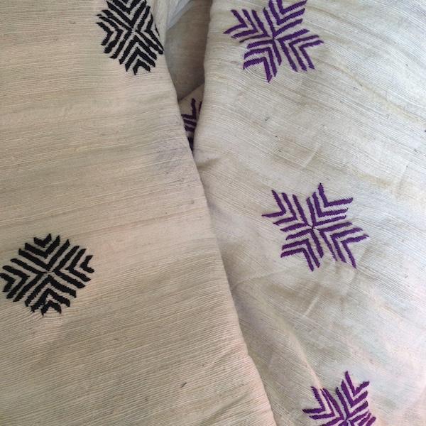 hasina // black - purple  hand embroidered hand woven silk