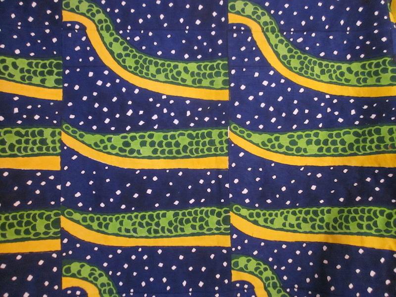 snake / hand blocked cotton-linen
