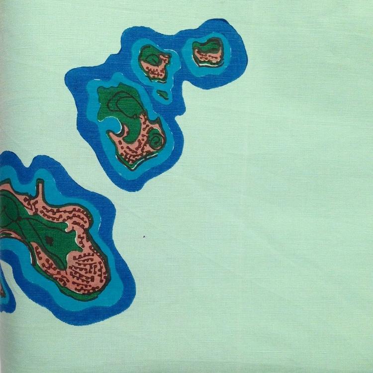 islands/ hand blocked cotton-linen
