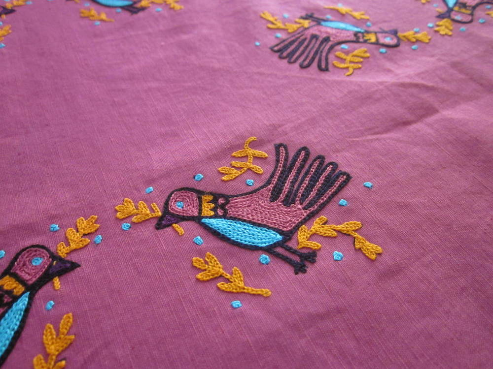 lovebirds / hand embroidered cotton-linen