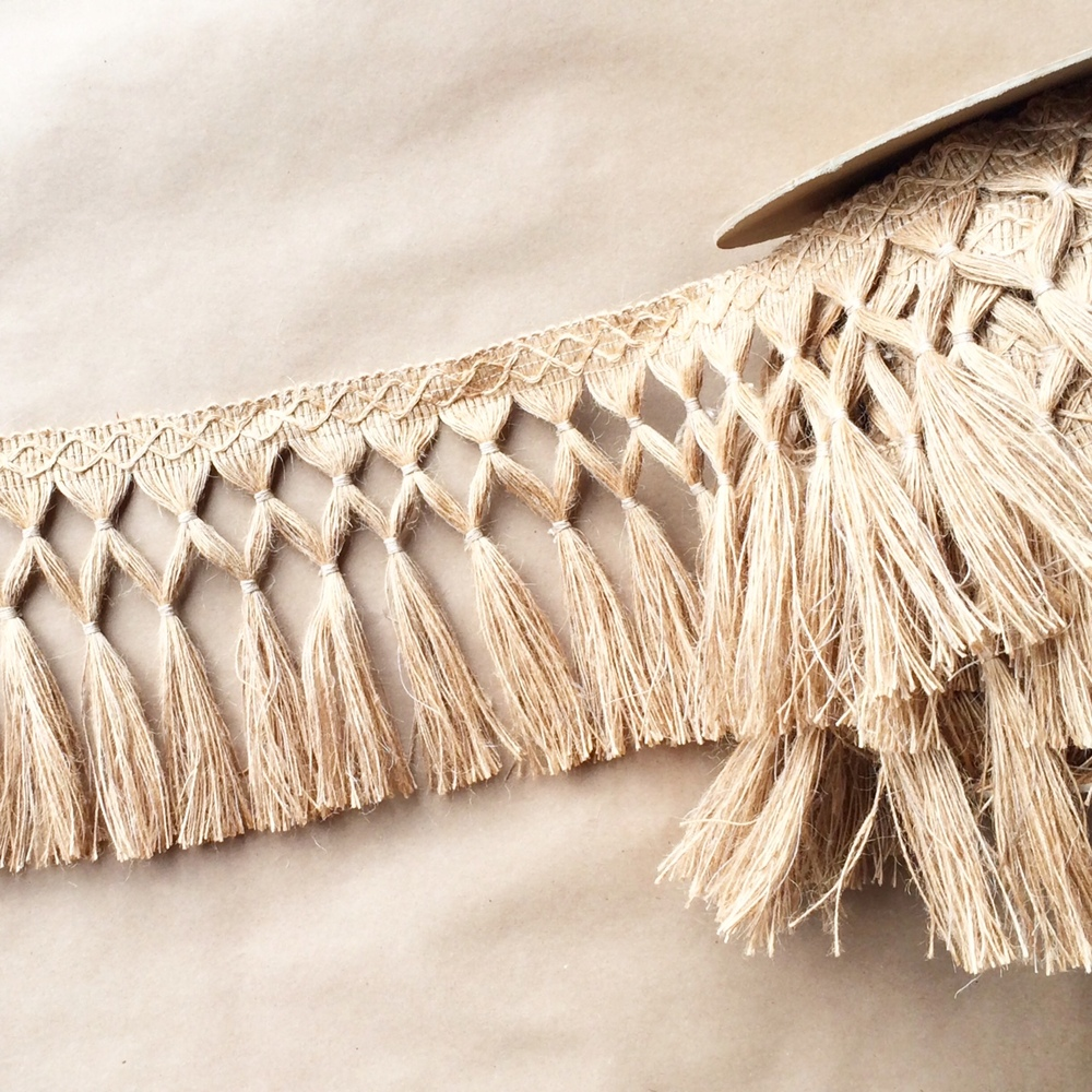 "Jute 6.5"" Double Diamond Knot Fringe"
