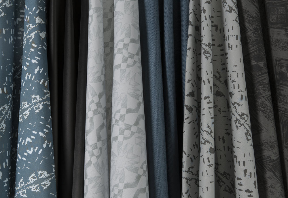 Clair Obscur Fabrics - Petrol/Silver/Black