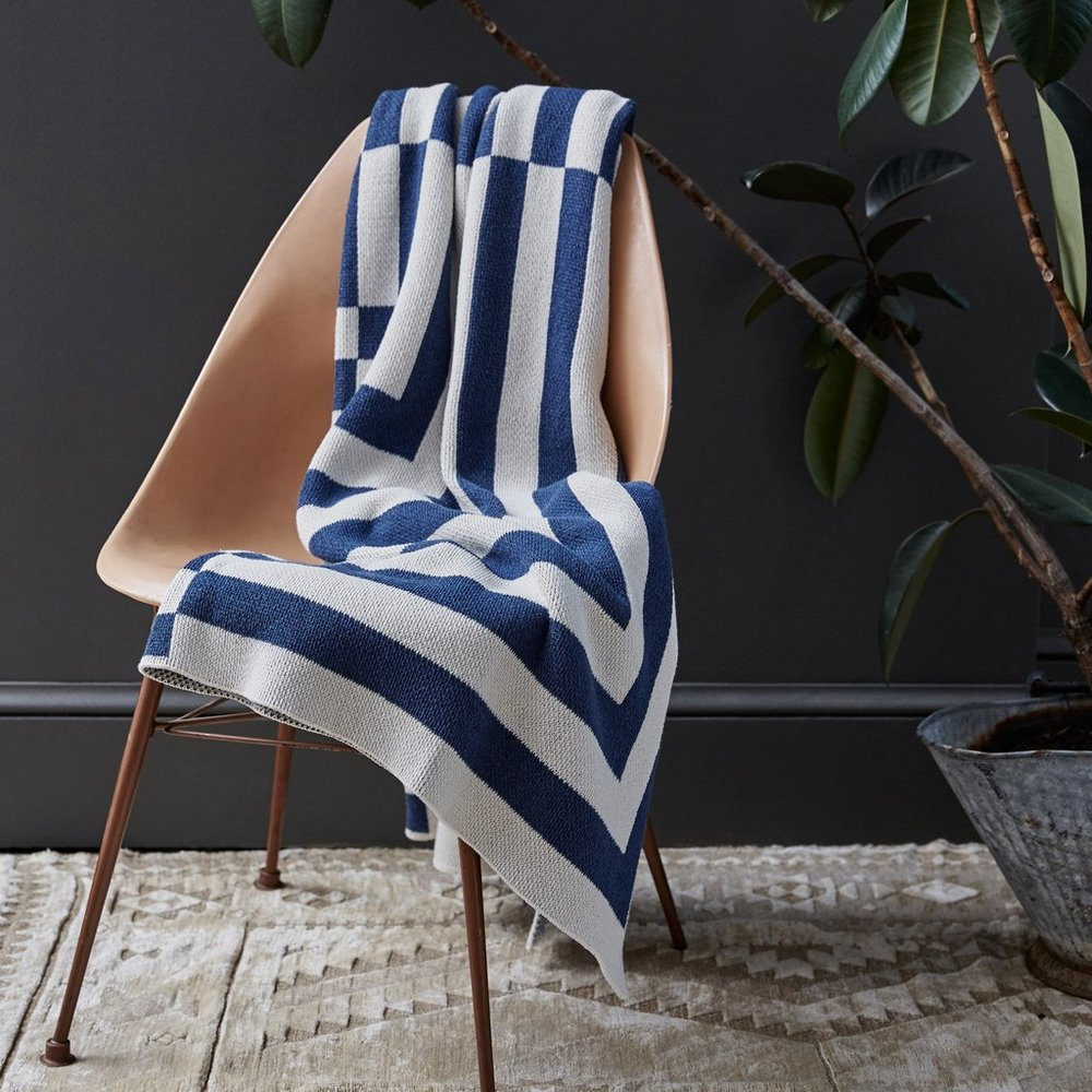 Aquino Indigo Cotton Throw Blanket