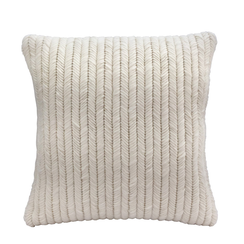 Textured Pillow Cream Herringbone