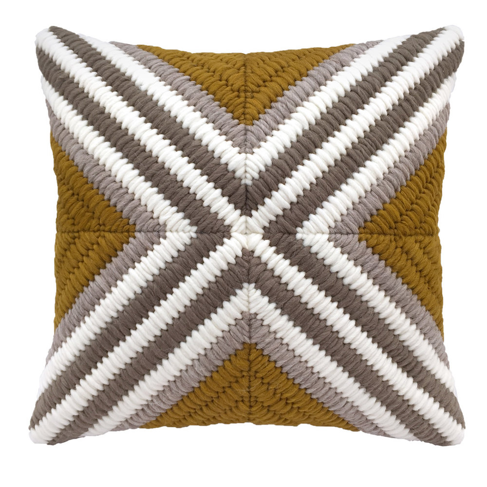 Textured Pillow Ochre Cross