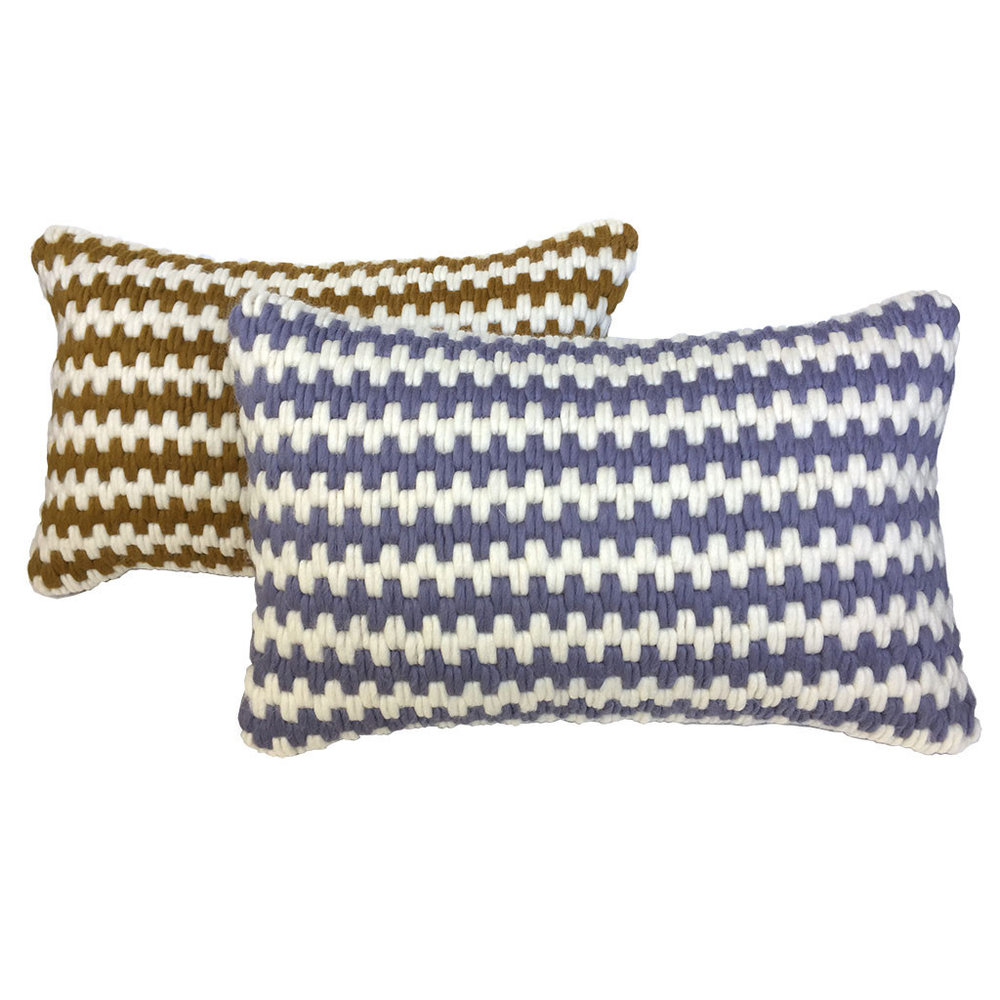 Textured Pillow Ochre Stripe & Lavender Stripe