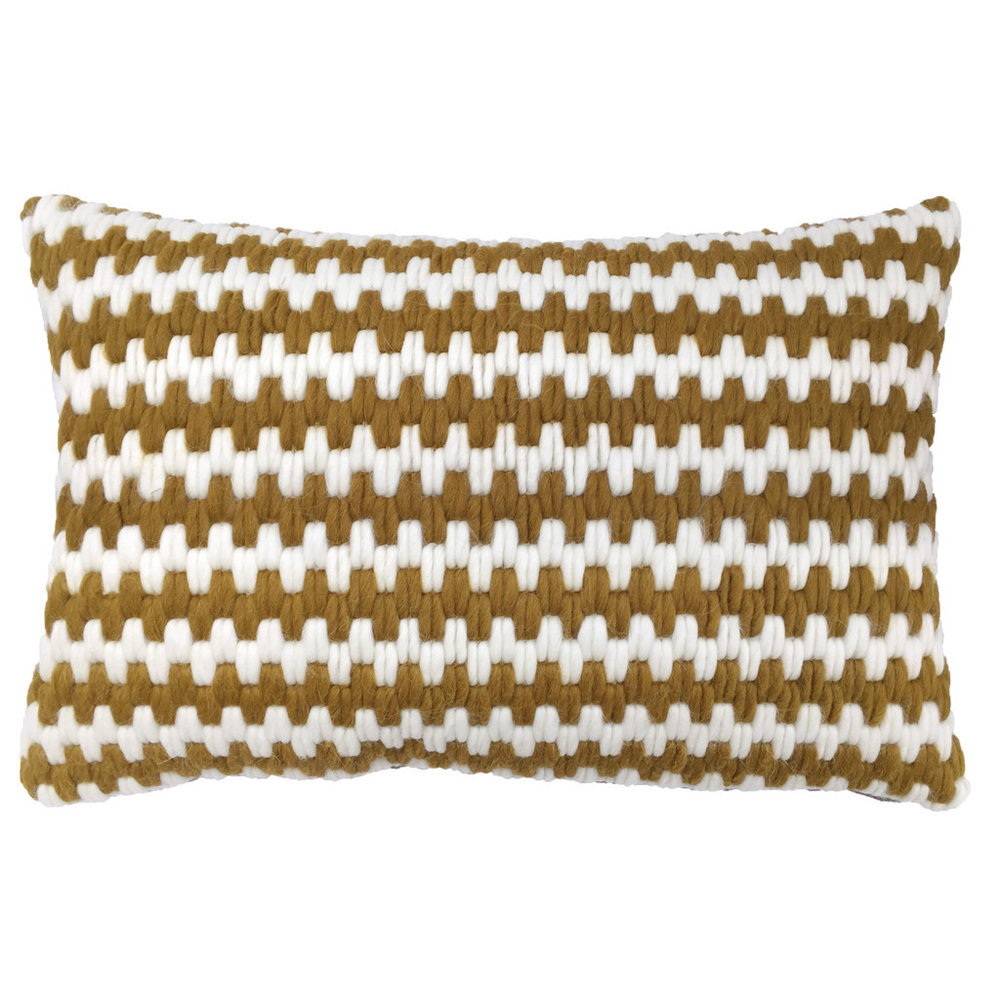 Textured Pillow Ochre Stripe