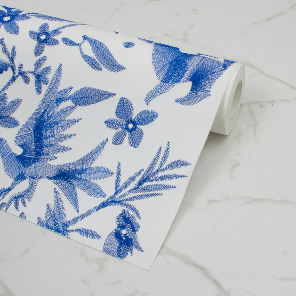 EMBROIDERED WALLPAPERS Aves Navy Custhom Wallpaper