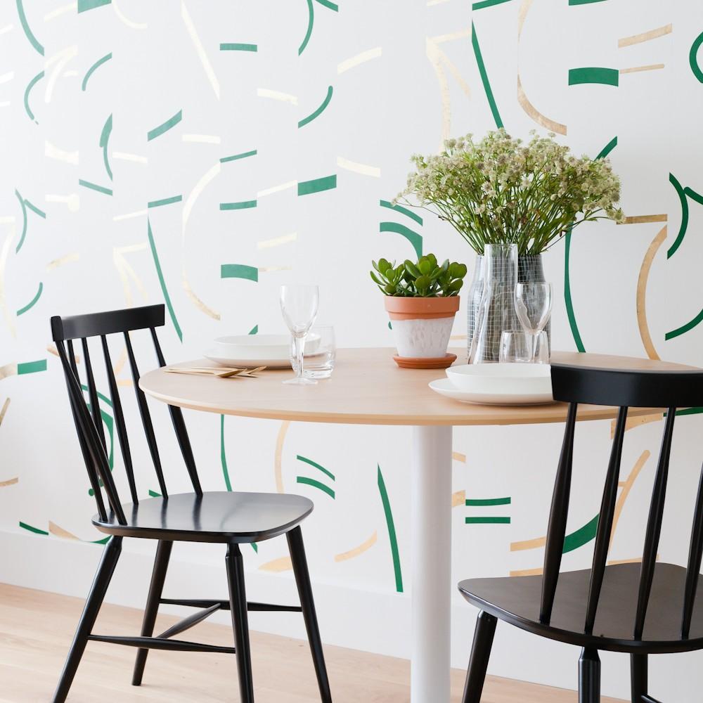 Offset - Fir Green+Gold wall