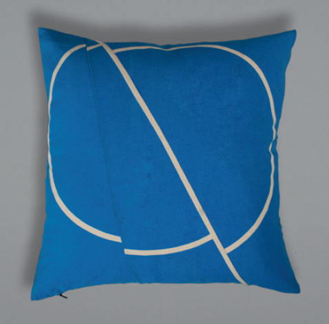 Offset Cushion - Blue+Cream