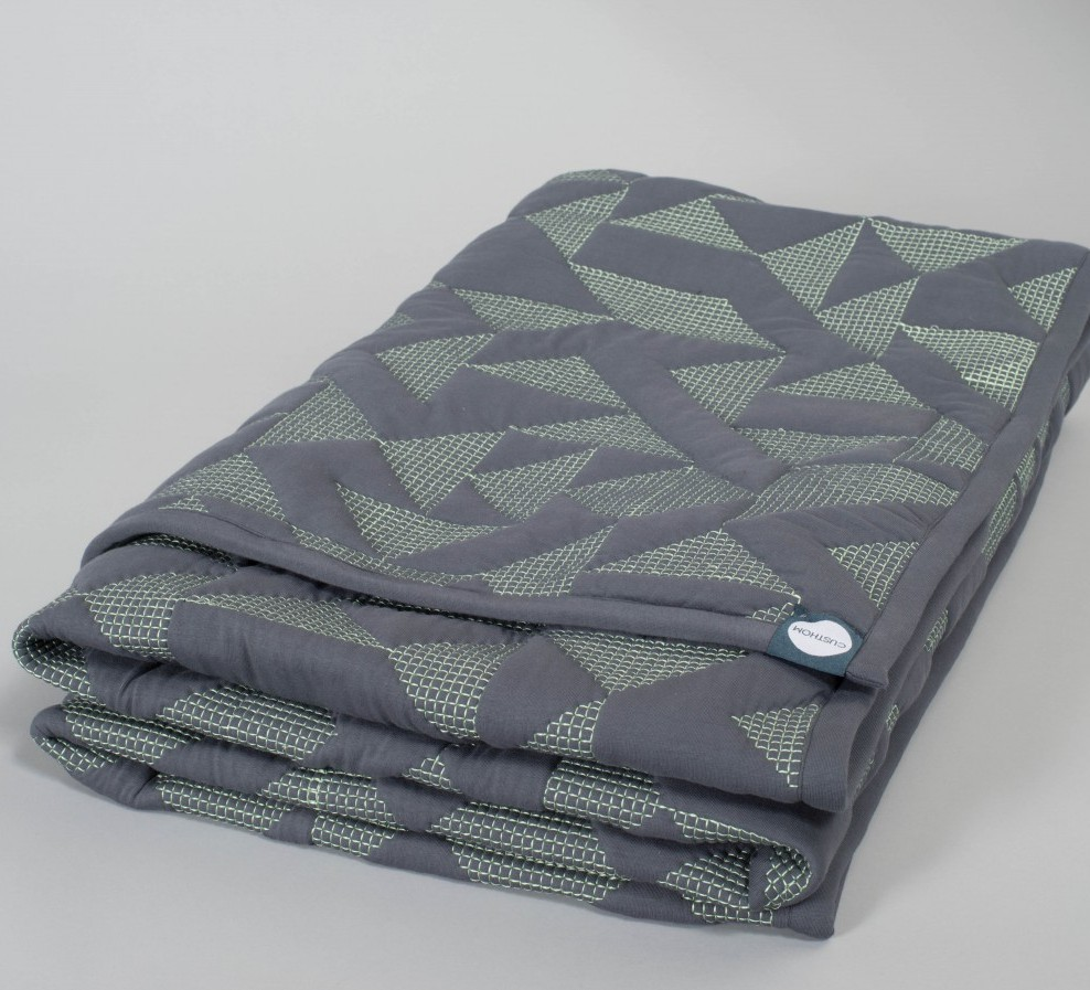 Goldsmiths Quilt - Grey with Green Stitching