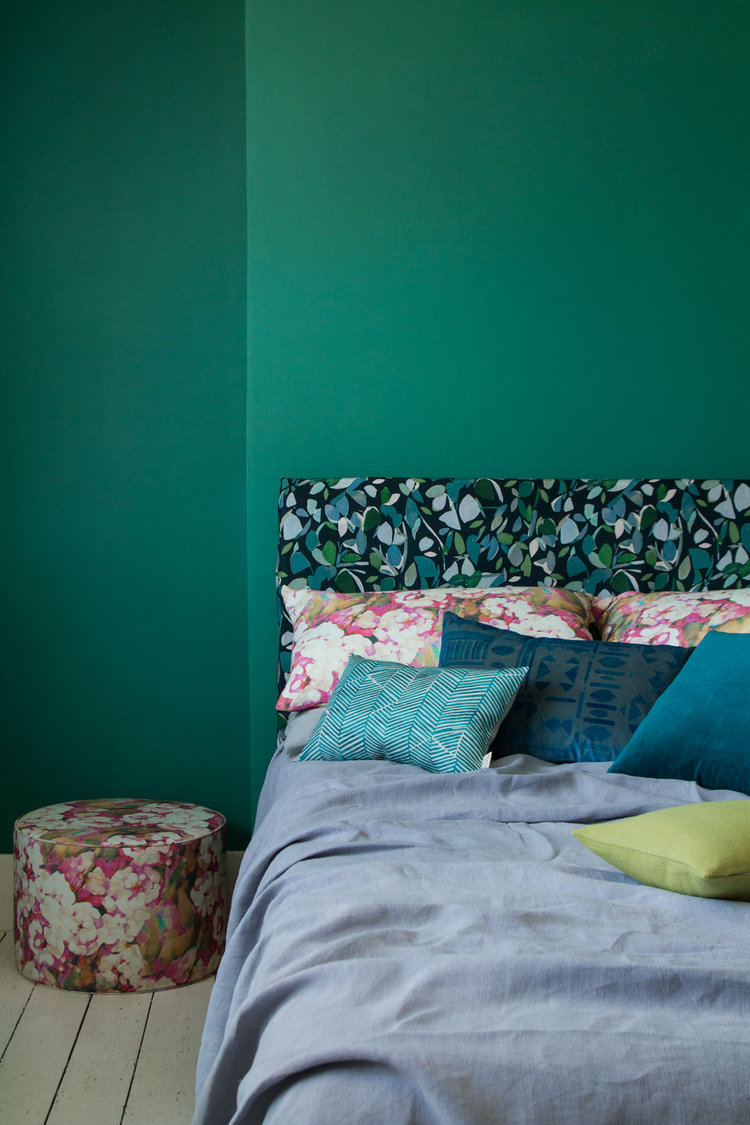 Headboard - Evergreen; Cushions - Rosa, Oriel, Aria