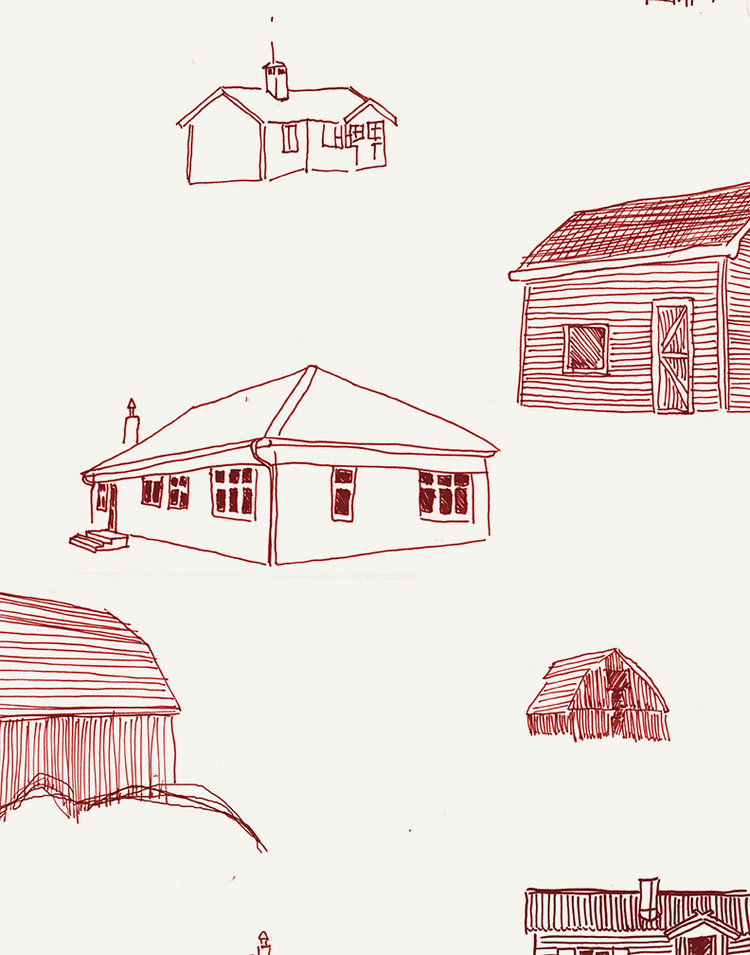 Homes detail - Poppy Ink on Manila Paper