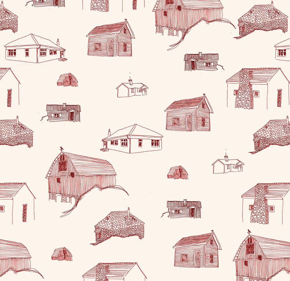 Homes - Poppy Ink on Manila Paper