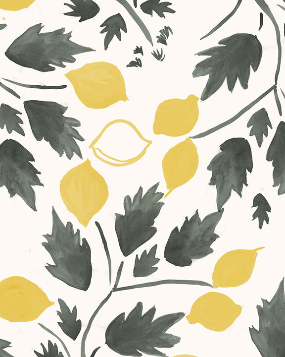 Lemon Grove detail - Turtle and Lemon on Paper
