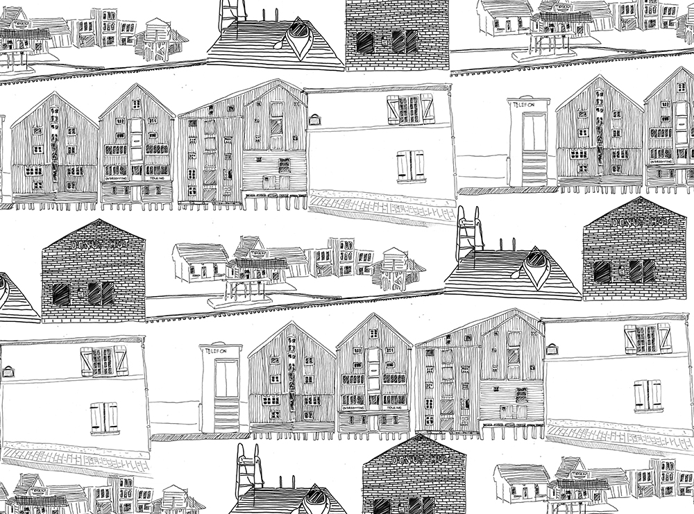 Town - Ink on Grey Paper