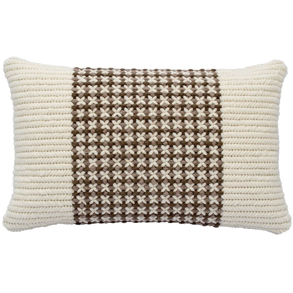 Textured Pillow Soft Brown Trellis