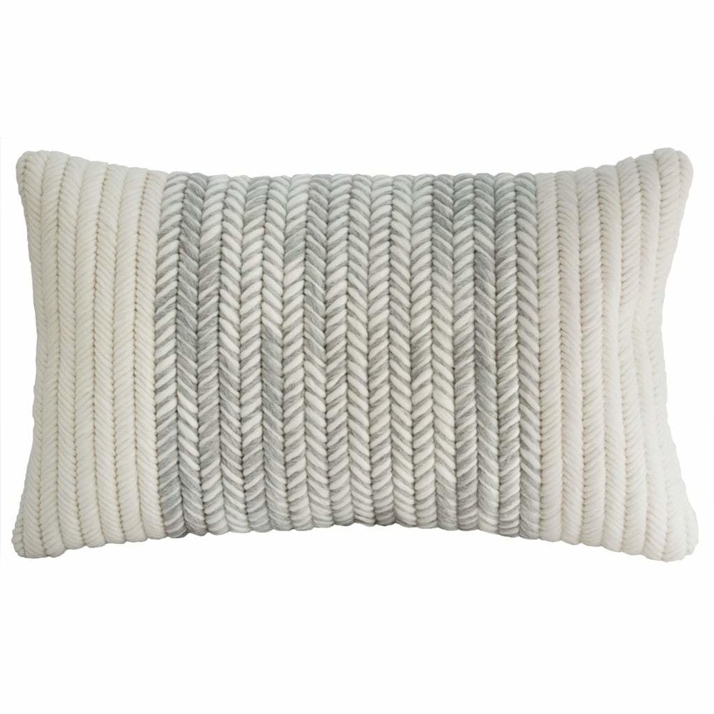Textured Pillow Heathered Gray Herringbone