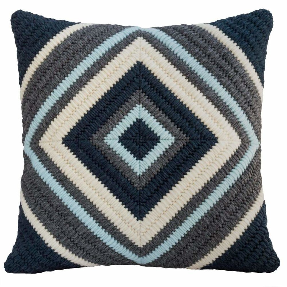 Textured Pillow Navy Blue Diamond